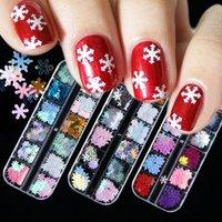 Nail art decoration in Christmas 12 grid laser snowflake Sheet box winter sequins 50 sets a lot