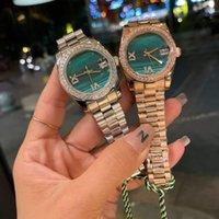 Reloj de diamante de 36 mm de mujer Maqueta Mecha Merca de acero inoxidable DA-TE - JUS Relojes Green Dial Green RX090102