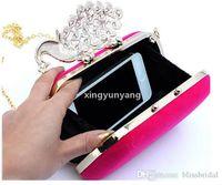 Jh pfau kristall perlen frauen handtaschen vier farben verfügbar mini mode kupplung taschen hochzeit abend handtaschen freies verschiffen