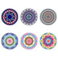 Havlu Yuvarlak Plaj Battaniye Bohemian Vintage Hippi Mandala Çiçek Baskı Goblen Püskül Daire Masa Örtüsü Büyük Yoga Mat