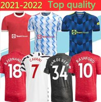 Manchester Men + Kids 2021 2022 Soccer Jerseys United Cavani Utd Van de Beek B. Fernandes Rashford كرة القدم قميص 20 21 22 كيت HumeRrace الرابع