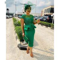 2021 Green Sheath Prom Dresses Cap Sleeves Appliques Elastic Satin Zipper Back Women Evening Party Gowns