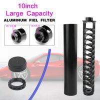 """새로운 10 """"나선형 1 / 2-28 5 / 8-24 단일 코어 블랙 알루미늄 튜브 자동차 연료 필터 솔벤트 트랩 4003 Wix 24003 필터"""