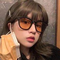 Sunglasses Rivet Square Frame Men Women Gray Orange Lens UV400 Protection Eyewear Fashion Design Gafas De Sol