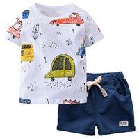 Biniduckling Yaz Cato Kısa Mouw Beyaz Karikatür Araba Baskı T-shirt Çocuklar Çocuklar Için 2 Şeyler Genç Giyim