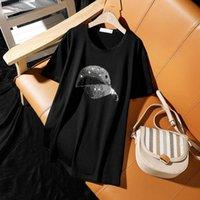Yaz Artı Boyutu Giyim 2021 Yeni Moda Casual Gevşek Kısa Kollu T-shirt Kadınlar Için Kişilik Şapka Sıcak Diamonds Kadın Tops