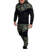 الأزياء التمويه طباعة عارضة الرجال مجموعات 2 أجزاء مجموعات رياضية الرجال مقنع البلوز + السراويل البلوز هوديي رياضية البدلة # G2 X0610