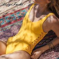 Aisiyifushi Mayo Mayo Seksi Yüzme Kadın 2020 Yaz Sarı Swim Suit Tek Parça Bikini L0222