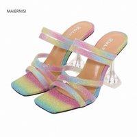 Maiernisi امرأة الصيف مثير الأحذية النسائية نمط جديد نمط سائما عالية الجودة الصنادل 9 سنتيمتر الكعوب رقيقة الأزياء عرض ملهى ليلي 4 14 15 Q2G8 #