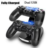 Çift Yeni Varış LED USB Chargedock Yerleştirme Cradle İstasyonu Kablosuz PlayStation 4 PS4 Oyun Kontrol Cihazı için Standı