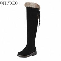 QPlyxco Sale Neue Mode Große Größe 34 44 Russland Frauen Winter Warme Schnee Lange Stiefel Damen Süße Botas Runde TOE 3 clützige Schuhe 1772 G8DN #