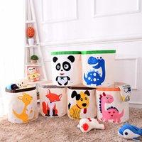 Çocuk Karikatür Oyuncak Depolama Sepeti Katlanır Çamaşır Sepeti Çocuk Katlanabilir Giyim Saklama Kutusu Çocuk Oyuncakları Organizatör Depolama Namlu DHF5557