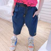 Moda crianças menino menina calças curtas 2021 verão bebê meninos azuis calças jeans crianças consideráveis calças casuais tops