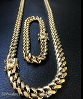 10mm Mens Miami Cuban Link Bracelet &Chain Set 14k Gold Plated Stainless Steel