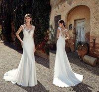 Cheap Berta Lace Appliqued Mermaid Wedding Dress Sexy Vintage Bohemian Beach Boho Plus Size Bridal Gown
