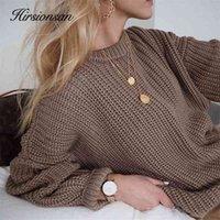 Hirsionsan lose herbst pullover frauen 2020 neue koreanische elegante gestrickte pullover übergroß warme weibliche pullover mode feste tops lj200916