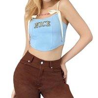 Women's Tanks & Camis Tops Sleeveless Lace Up Shoulder Strap Lettering Printed Vest Irregular Hem Camisole For Female Embroidered Letter Sli