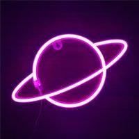 Planète néon signe LED néon mur signes rose néon lumières suspendues pour chambre à coucher pour enfants salle de chambre d'hôtel magasin de bureau