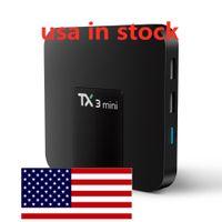 الولايات المتحدة الأمريكية في الأسهم TX3 مصغرة Amlogic S905W رباعية النواة الروبوت 8.1 OS 2GB RAM 16GB ROM 2.4 جيجا هرتز واي فاي 100 متر LAN LED ساعة
