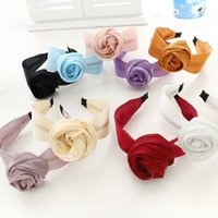 Grandes bandes de cheveux de fleur de rose pour femmes brillant cuisson de gaze de soie brillant coiffe de bande de tête solide lunette à cheveux cheveux cheveux cheveux hoop accessoires