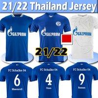 2021 2022 FC Schalke 04 Futbol Formaları Huntelaar Uth Raman Hoppe Bentaleb 21/22 Eve Dight Jersey Kutucu McKennie Erkekler Futbol Gömlek