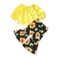 Çocuklar Giyim Kız Kıyafetler Çocuk Straplez Omuz Tops + Ayçiçeği Flare Pantolon 2 adet / takım Bahar Sonbahar Bebek Giyim Setleri C1407 49 Y2
