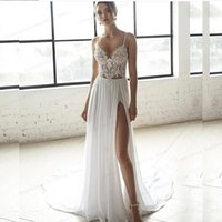 Other Wedding Dresses Bohemian Dress 2021 Beach Two Pieces 2 A-line Sweetheart Bridal Gowns Sleeveless Simple Sweep Train Charming