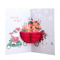 Creative 3D Pop Up Greeting Card Cute Cartoon Christmas Invitation Card Xmas Santa Claus Greeting Cards Christmas Gift Postcard VT1114