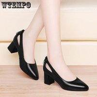 Обувь платье WTEMPO каблуки женские черные кожаные работы роскошный дизайнер высокий 2021 заостренный носок
