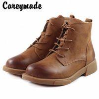 CareAymade الجلود النمط البريطاني، الأحذية، الأدب والفن كعب مسطح أحذية مريحة قصيرة، أحذية أحذية واحدة للنساء ريال G0M4 #