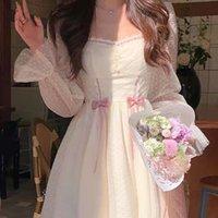 2021 Autumn Elegant Princess Dress Women Sweet Dot Party Long Sleeve Fairy Dresses Female Casual Vintage Korean Miniskirt
