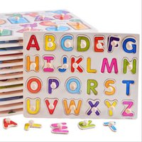 Early Educational Montsori Board Toys Baby Hand Grasp Digital Letter Jigsaw Puzzl Wooden Alphabet PuzzleNMTE