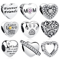 Fashion 925 Sterling Silver FOREVER FRIENDS Beads Crystal Charms fit Original Pandora Bracelets&Bangles Friendship Jewelry Gift Q0531