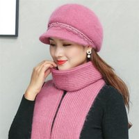 Beanies 2021 Women Winter Peaked Cap Thick Warm Add Fur Lined Pearl Decoration Hat And Scarf Set Blend Knitted Bucket