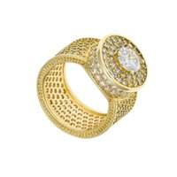 Mens Hip Hop Ring Jewelry Gold Silver Iced Out Crystal Gemstone Diamond Rings For Men