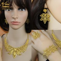 Earrings & Necklace Fashion Luxury Jewelry Set Wedding Bridal Gold Color African Designer Jewellery Sets Woman Accesories