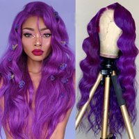 Предпочтительные прозрачные кружевные парики сброшенные фиолетовые кружевные фронтальные волосы волосы парики бразильские реми синий желтый свободный волной парик для женщин