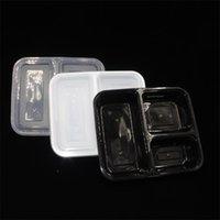 Le moins cher !!! US au micro-ondes US AU micro-ondes Contenants alimentaires écologiques 3 compartiment déjeuner jetable bento boîte noire repas repas 1000 ml 653 s2