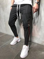 2020 Mens New Casual Pants Fashion Personality Casual Sports Slim Stripe Tether Jogging Men's Pants Ankle-Length