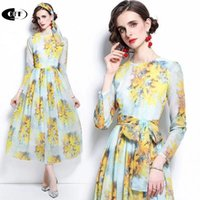 Casual Dresses Designer Beach Chic Traf Zevity Autumn Fashion Boho Maxi For Women Elegant Long Sleeve Bow On Holiday Floral Dress Femme