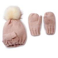 패션 단단한 색상 소프트 아기 장갑 bowknot 신생아 유아 모자와 함께 니트 아이 생일 선물 사진 소품 모자