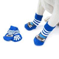 4 قطعة / الوحدة الشتاء الدافئ كلب الجوارب الأزياء المضادة للانزلاق الكلب الأحذية لجرو صغير و كلب كبير 27 S2