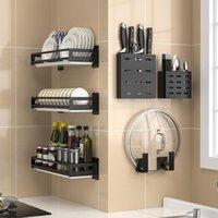 Hooks Rails Montado en la pared Rack de almacenamiento de acero inoxidable Spice Can Vajilla y Productos de lavado Organizador Cocina Accesorios de baño