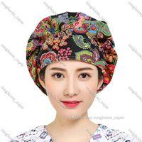 Women Men Floral Print Adjustable Scrub Cap Nurses Kitchen Cotton Bouffant Hat with Sweatband Lady Boy Girl Unisex