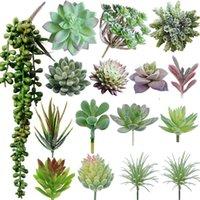 Flocking Blume Anordnung Zubehör Gefälschte sukkulente Kunststoff Dekorative Pflanze Topf Simulation