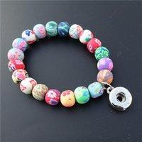 Perlé, brins Soft FIMO ELLEILLE Perles Bracelet pour les enfants Filles Gold Rhodium 12mm Tapis boutons Charms Bracelet élastique 12 pièces / lot