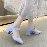 Cuero Mary Jane zapatos de mujer moda hebilla retro bombas poco profundo zapatos hechos a mano Tallas de mujer 35-39