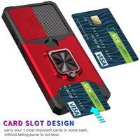 Armor Ring Card Slot Car Holder Cover For Samsung Galaxy S21 Ultra Plus FE Note 20 A72 A52 A42 A12 5G Phone Case Coque Fundas