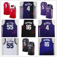 Jason de alta calidad 55 Williams Basketball Jersey # 4 Chirs Webber Jerseys Peja 16 Stojakovic Barato Mike 10 Bibby Jersey cosido para hombre S-XXL