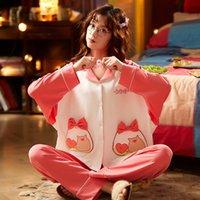 Осень зима 2020 WAVMIT женщин Pajamas хлопок длинный верхний набор женских пижамов набор ночной ночной одежду наборы для ночной одежды наборы женщин отдых